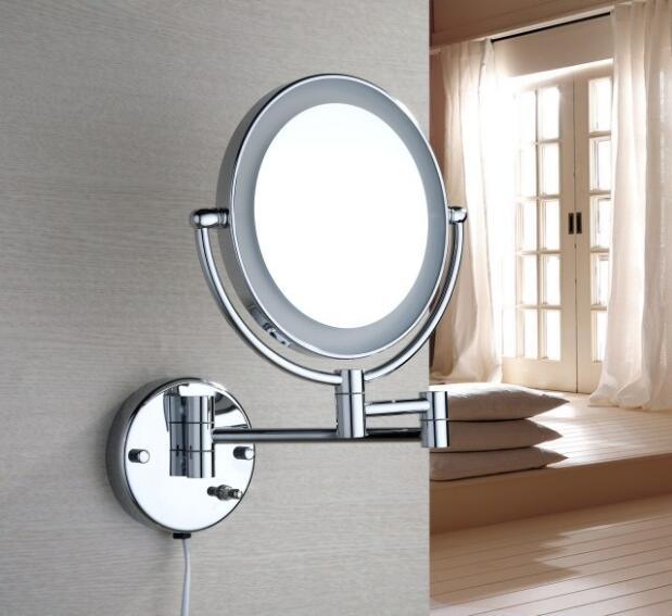 3 times chrome 8' magnifying mirror brass material LED double faced make-up mirror with equipped mirror silver chrome vespa open face