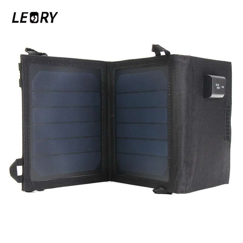 LEORY 5V 8W Portable Solar Panel Sunpower Chip Foldable Power Battery Charger With USB Port For Phone For Camping/Boat/Caravan