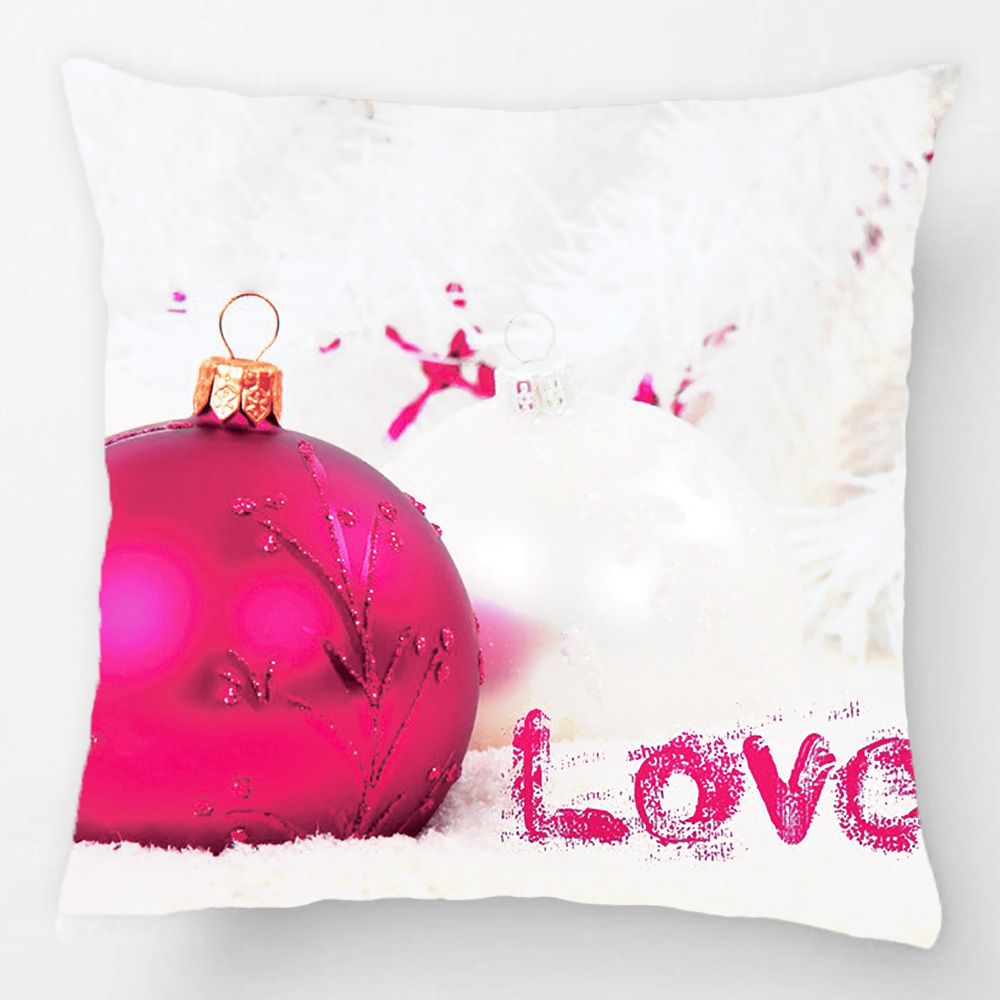 Love Red Christmas Bauble On White Snow Photo Throw Pillow Case Decorative Cushion Cover Pillowcase Customize Gift For Car Sofa