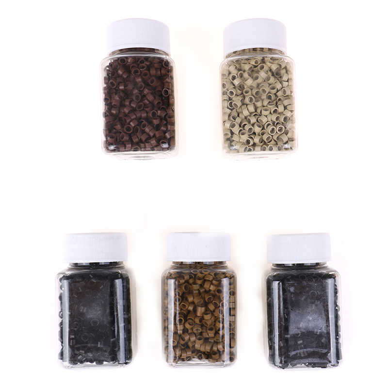 1000pcs Micro Crimp Beads Micro Bead Hair Ring/Links/Beads For Hair Extensions 5 Colors Micro Rings 4.0MM 2 Styles Random