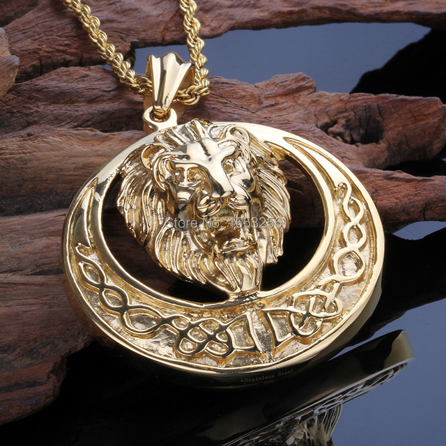 Mens jewelry high quality large biker stainless steel sun lion gold mens jewelry high quality large biker stainless steel sun lion gold pendant necklace with 4mm 22 aloadofball Image collections