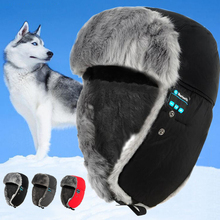 2017 Winter Warm Thicken Wireless Bluetooth Hat Headset Unisex Faux Fur Headphone Soft Outdoor Waterproof Smart Cap Earphone