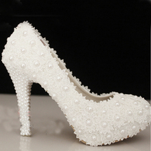 Free Shipping Wedding Shoes White High Heel Bridal Dress Shoes Evening Party Prom Shoes Lady Special Shoes for Anniversary