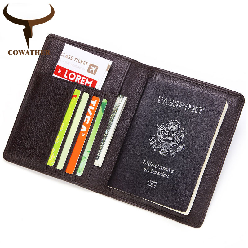 COWATHER Unisex Card Holder Cow Genuine Leather ID Holder Top Quality Cowhide <font><b>Passport</b></font> Wallet Big Capacity Wallets Free Shipping image