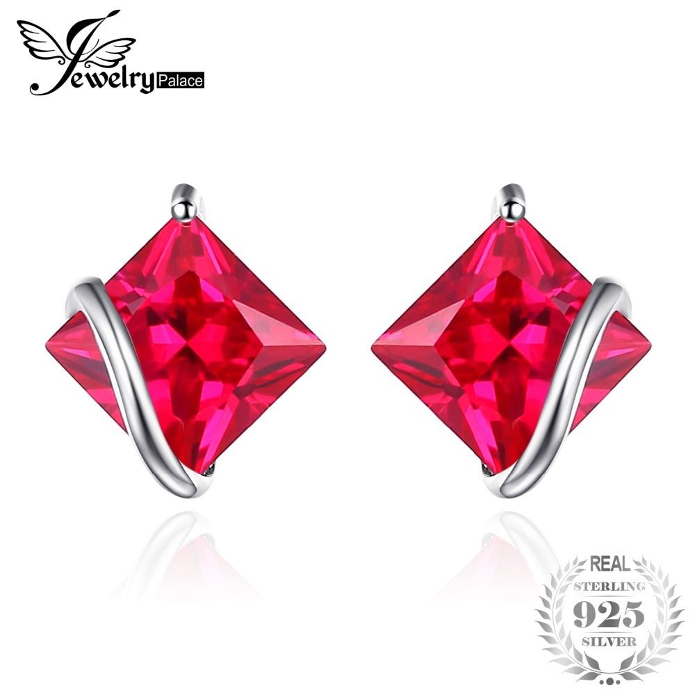SmyckenPalace Classic Square 2.8ct Skapad Red Ruby Stud Örhängen Charm 925 Sterling Silver Märke Bröllop Fine Smycken För Kvinnor