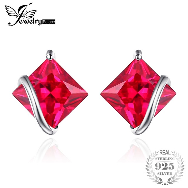 JewelryPalace Classic Square 2.8ct Created Red Ruby Stud Earrings Charm 925 Ster