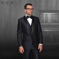 Erkek tasarımcı takım elbise Moda ve damat siyah apple adam özel ceket + pantolon + yelek damat takım suits