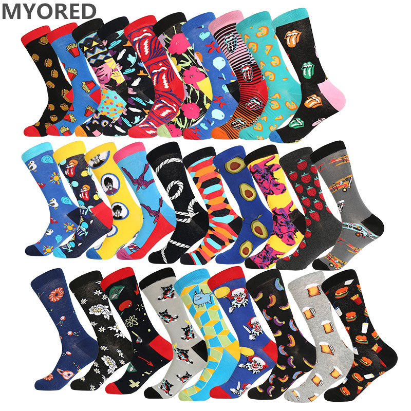MYORED men   socks   cotton funny   socks   for man women novelty casual dressing color crew   socks   for happy wedding accessories gift