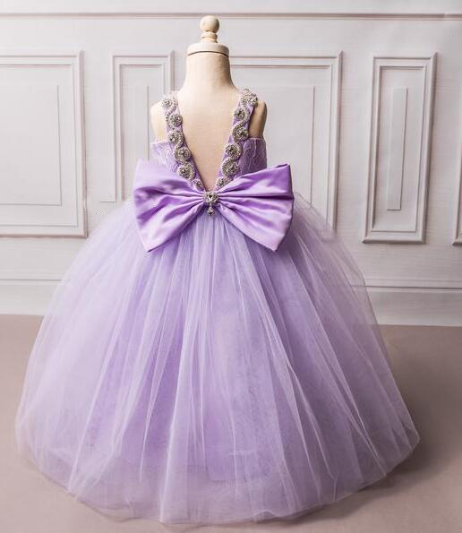 Open back purple lilac tulle flower girl dresses long lace sweetheart crystals rhinestones little kids prom party gown with bow