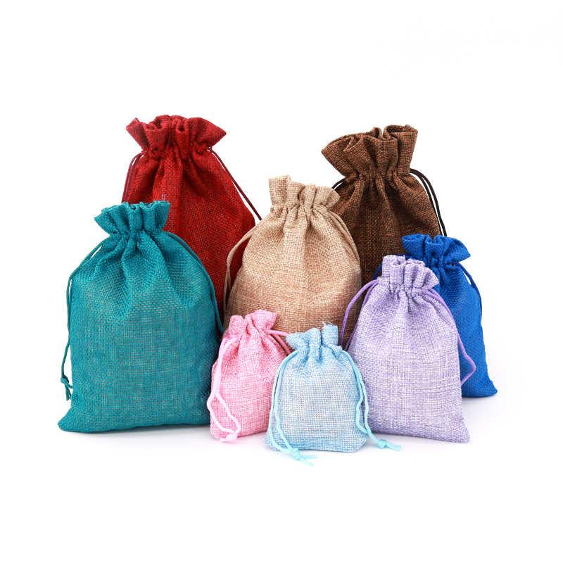1 pc (5 サイズ) リネンジュート巾着ギフトバッグクリスマスハロウィンギフトボックス包装ギフトバッグ結婚式のキャンディーボックスチョコレートバッグ