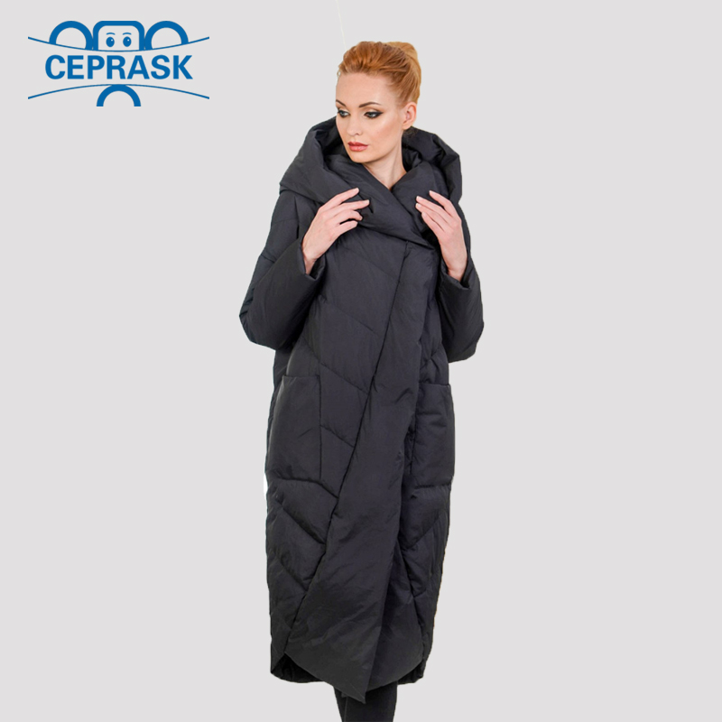 2019 New High Quality Thick   Parka   Plus Size Long Bio fluff Hooded Winter coat Women European style Warm Stylish Winter Jacket