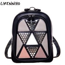 Геометрическая Лоскутная заклепки женщины рюкзак элегантный дизайн из искусственной кожи рюкзак для подростка роскошные женские рюкзак Mochila рюкзак