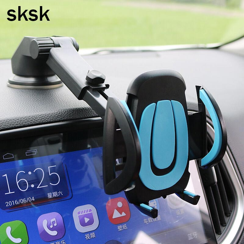 SKSK Car Phone Holder Gps Accessories Suction Cup Auto Dashboard Windshield Mobile Cell Phone Retractable Mount Stand