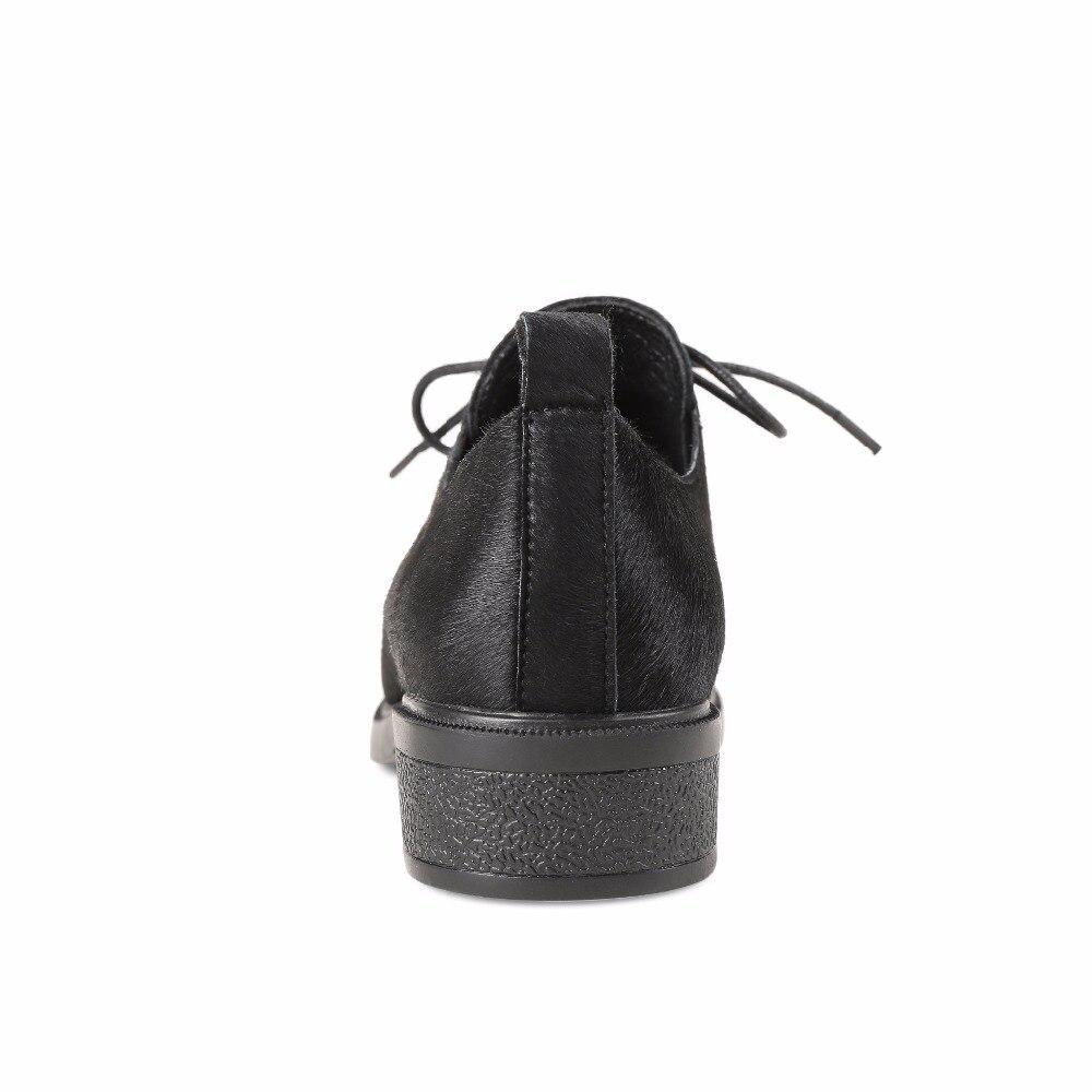 Mujeres Para Primavera Oxford Mujer Casuales Planos Caballo De Crin Kickway Encaje Zapatos Otoño Black 2018 Las wqtEP1Xx