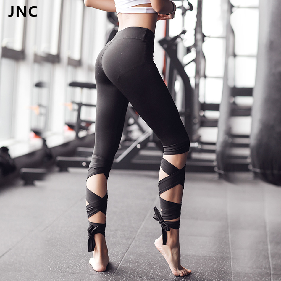 JNC Women Bandage Cropped Yoga Pants leggings Sports Dance infinity Turnout Tight Leggings fitness Cross Pants Running Tights