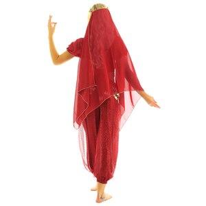 Image 4 - Tiaobug 여성 할로윈 카니발 무대 공연 이집트 밸리 댄스 의상 볼리우드 인도 댄스 드레스 시폰 사리 세트