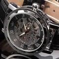 Новый 2016 мода sewor скелет мужчины военный бизнес часы кожа механическая рука ветер наручные платье роскошные спортивные часы подарок