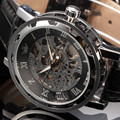 new 2016 fashion sewor skeleton men military business clock leather mechanical hand wind wrist dress luxury sport watch gift