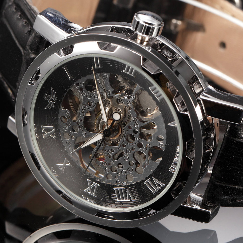new casual fashion sewor skeleton men military business clock leather mechanical hand wind wrist dress luxury sport watch gift