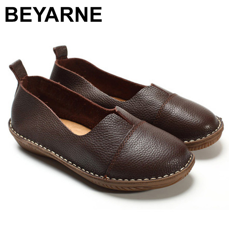 BEYARNE Women's Shoes Genuine Leather Slip on Loafers Round toe Coffee White Women's Shoes Flats Spring Autumn Footwear kuidfar women shoes woman flats genuine leather round toe slip on loafers ladies flat shoes skid proof spring autumn footwear