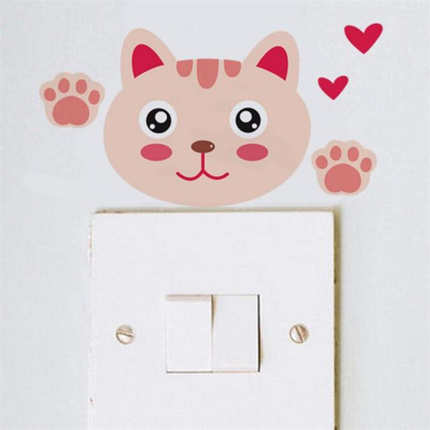 Wallpaper Sticker Cute animal Wall Stickers Light Switch Decor Decals Art Mural Wallpapers For Living Room 2018 B#