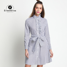 Runway Dress 2017 Women High Quality Long Sleeve Spring Striped Luxury Dresses Woman Shirt Dress