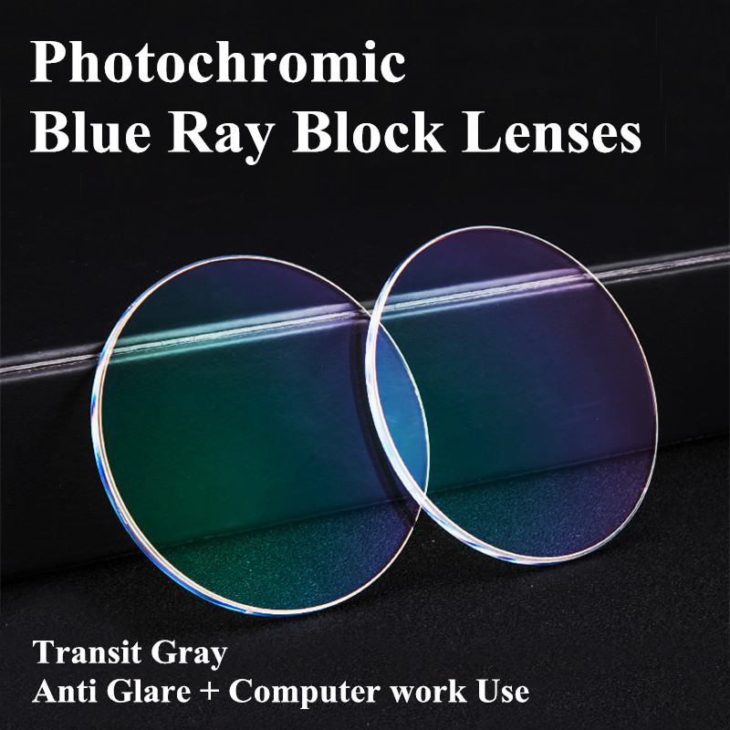 1 56 Index Prescription Photochromic Lenses Blue Ray Block Lenses Transit Grey Lenses For Computer Work