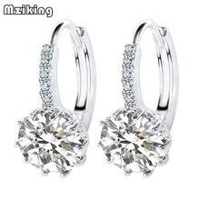Mziking 2018 New Luxury Ear Stud Earrings For Women Round With Cubic Zircon Earings Charm Flower Earrings Wedding Jewelry Gift недорого