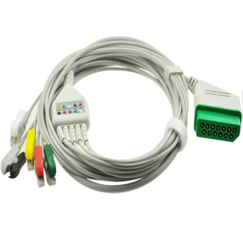 Compatible for NIHON KOHDEN BSM-2300 Life Scope Patient Leadwire ECG Cable Rectangle 12Pin ECG 5 leads Leadwires clip End TPUCompatible for NIHON KOHDEN BSM-2300 Life Scope Patient Leadwire ECG Cable Rectangle 12Pin ECG 5 leads Leadwires clip End TPU