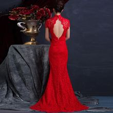 ФОТО Red Lace Backless Sexy Cheongsam Long Bride Trail Marry Dress  Evening Gown Woman Wedding Qipao Modern Party Dresses Robe