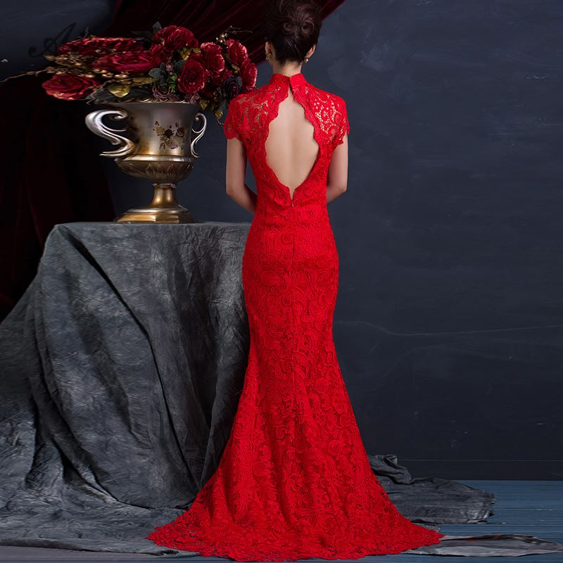 Red Lace Backless <font><b>Sexy</b></font> Cheongsam Long Bride Trail Marry <font><b>Dress</b></font> <font><b>Chinese</b></font> Evening Gown Woman Wedding Qipao Modern Party <font><b>Dresses</b></font> Robe image