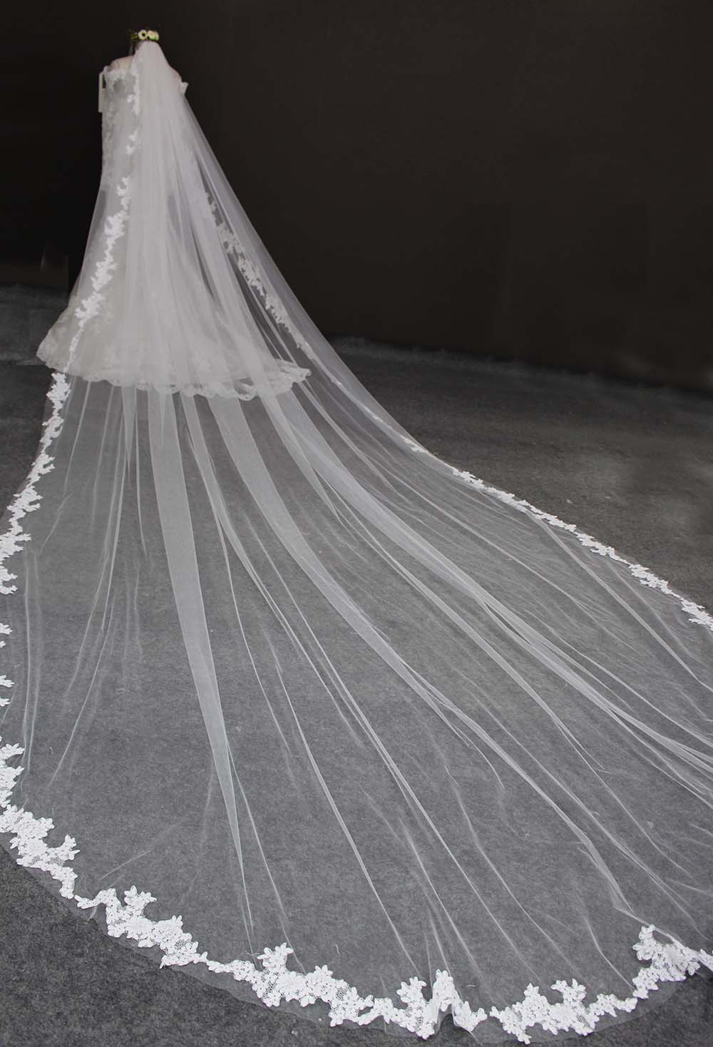 Long 5 Meters Lace Edge Wedding Veil with Comb One Layer 5M White Ivory Bridal Veil Voile Mariage Welon