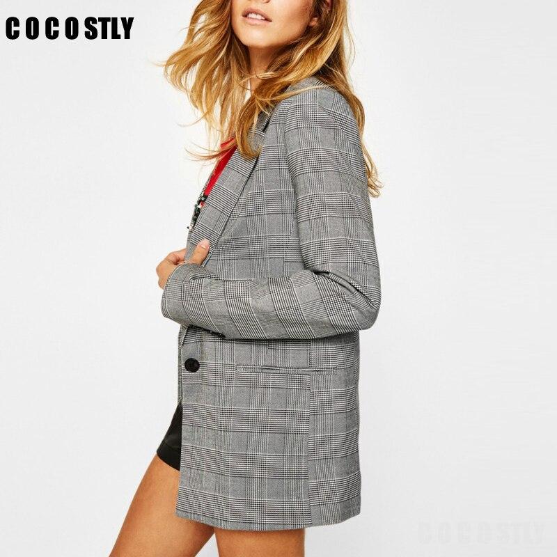 2019 Spring Autumn Suit Blazers Women Office Lady Casual Plaid Blazer Jackets Women's Elegant Notched Formal Blazer Feminino