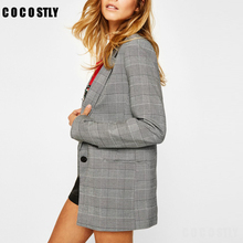 2019 Spring Autumn Suit Blazers Women Office Lady Casual Pla