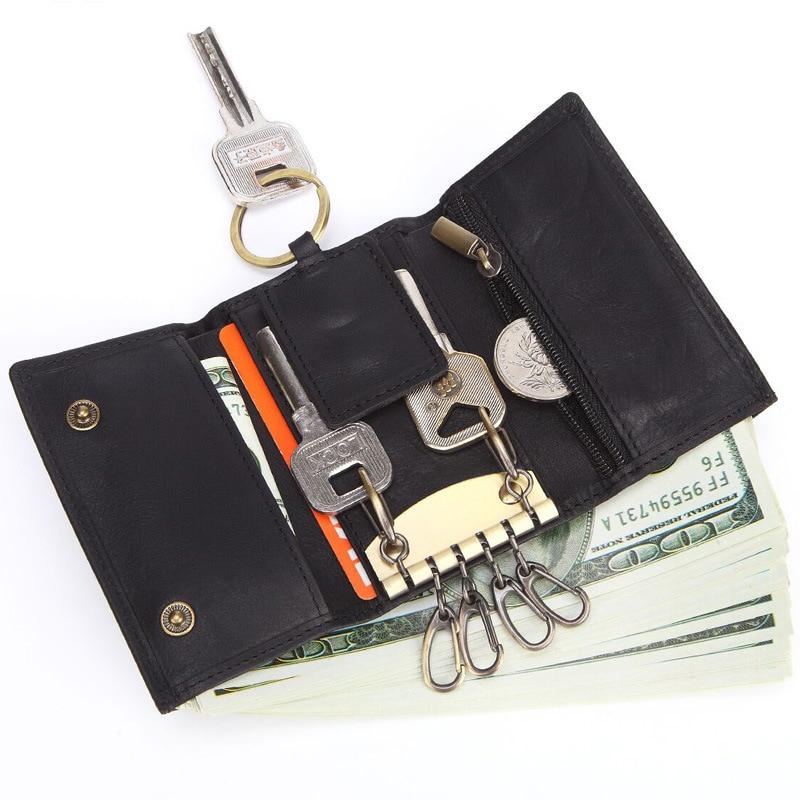 Genuine Leather Smart Key Holder Male Car Key Case Men Key Organizer Wallet Keychain Purse