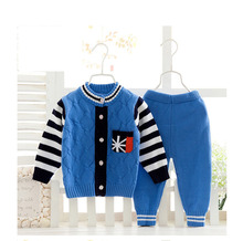 Jackets Sweater Cardigan Girls Sweater shirt+Pants Clothes Set Long Sleeve Newborn Zero-12M Baby Sweater Knitted coat Baby Clothing