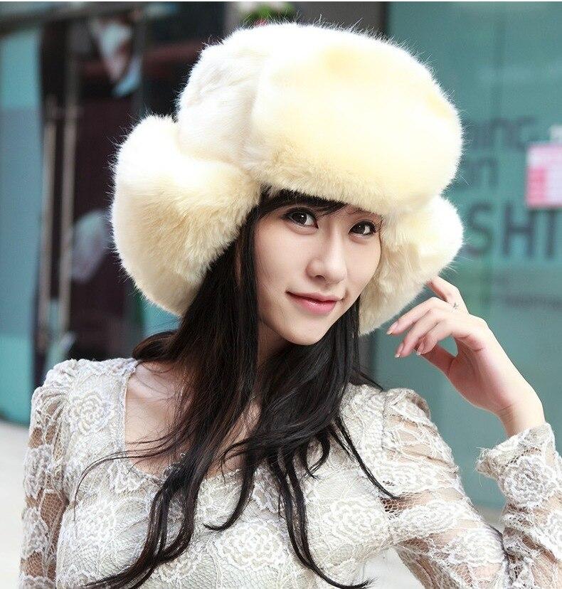 3182763166e Womens Ladies Russian Faux Fur Hat For Women Fur pom pom Hat White Black  Women Winter Bomber Hat-in Bomber Hats from Apparel Accessories on  Aliexpress.com ...