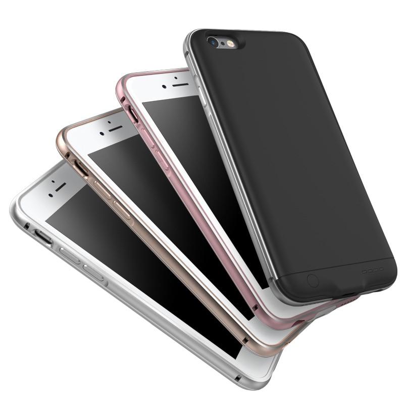 imágenes para 6 6 s 7 elegante delgada caja de batería para iphone 6 6s plus marco de aluminio de la contraportada caso del cargador de batería del banco de potencia para iphone 6 6 s