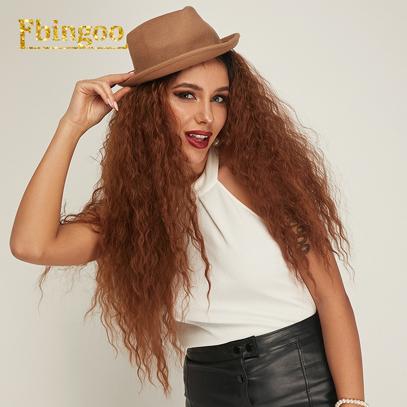 Ebingoo Futura Fiber Long Kinky Curly Fluffy Wigs Dark Roots Ombre Brown Synthetic Lace Front Wig For Women Heat Resistant