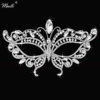 Miallo Fashion Butterfly Austrian Crystal Stone Masquerade Ball Women Masks Girls Ladies Wedding Face Jewelry for Party