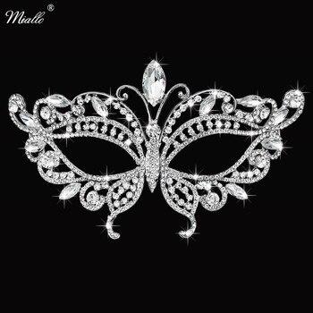 Miallo Moda Kelebek Avusturyalı Kristal Taş Masquerade Topu Kadın Maskeleri Kızlar Bayanlar Düğün Yüz Takı için Parti