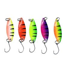 WLDSLURE 5 pz/lotto richiamo di pesca cucchiaio colorato esca 2g cucchiaio di metallo richiamo di pesca per trota gancio singolo