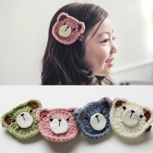 2pcs=1lot  Korea Handmade Wool Bear Flower crown Animal Hair Accessories Clip Hairpin Bows Headbands for Girls 3