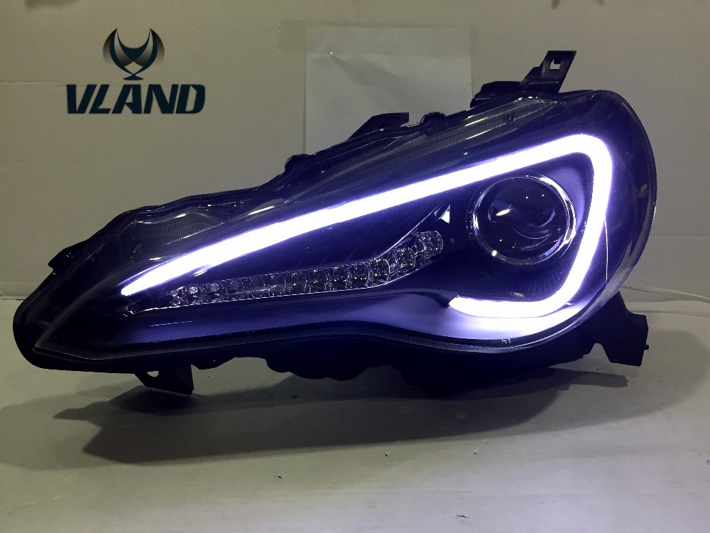 Free shipping China VLAND factory  auto car styling 2012-2016 GT86 headlamp FT86 LED headlight HID With projector lens