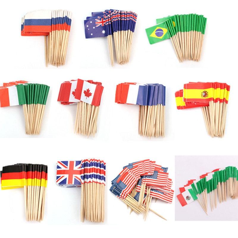 100 palillos de dientes de madera con bandera alemana para decoraci/ón de cupcakes
