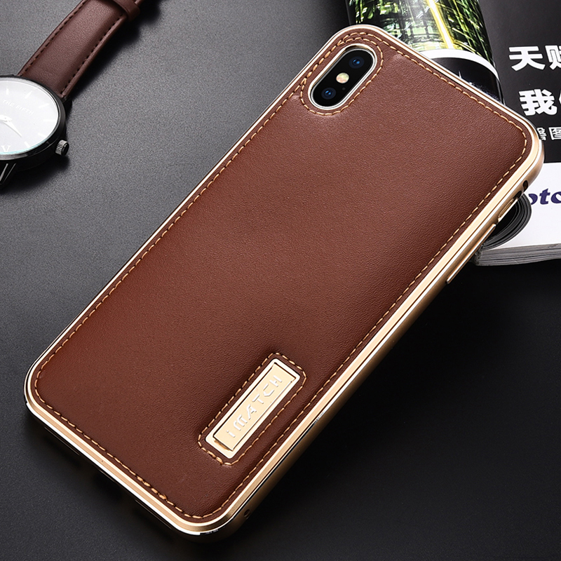 Original iMatch Metal Case For iPhone XS MAX Coque Genuine Leather Case For iPhone X XS