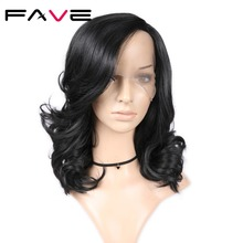 FAVE Lace Front Natural Wave Left Side Part Natural Black Wig