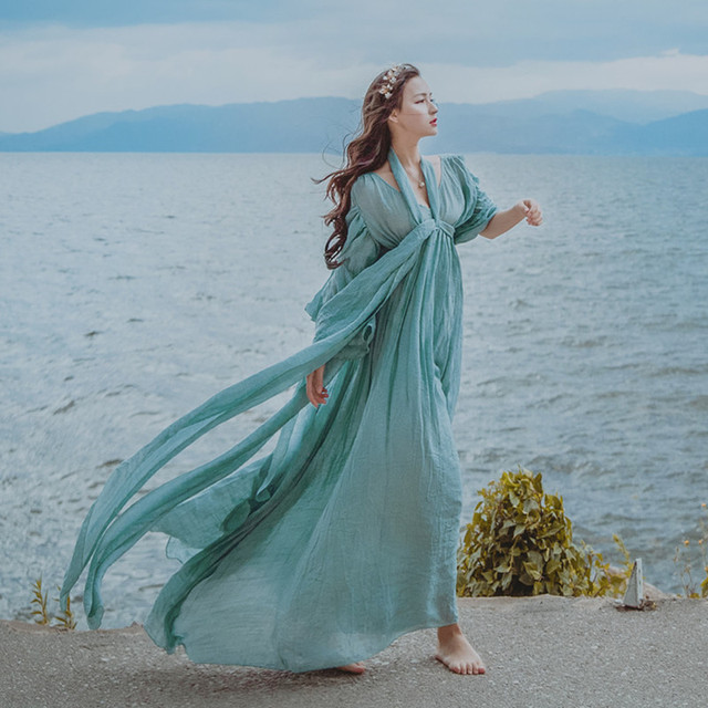 Длинное платье для моря