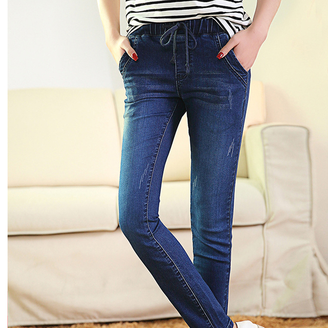 Jeans for woman Of 2016 Autumn New Female Pencil Pants Slim Feet blue elastic waist Jeans Trousers Women Jeans Long Pants