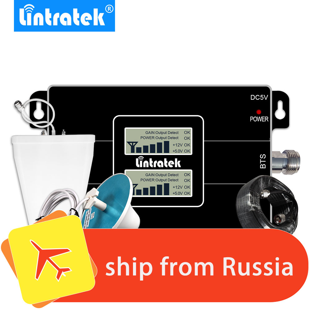 Lintratek GSM Repeater 3G 2100 900 MHz Mobile Phone Signal Booster LCD Cellular Amplifier Omni Antenna Set For Voice + Data @